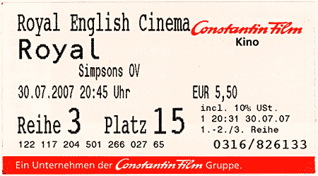 The Simpsons Movie Ticket