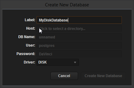 Creating a Resolve Disk Database