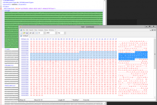 The file path encoded as ASCII inside an XML (!)